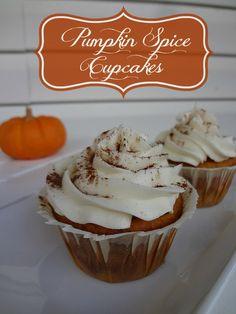 Pumpkin Spice Cupcakes #recipe via www.jmanandmillerbug.com