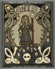 2015 woodburning on pine. Hel , the Norse Goddess of the Underworld