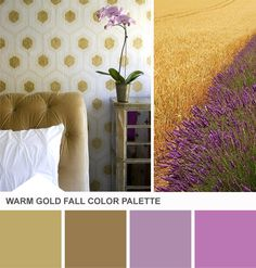 Tuesday Huesday: Add a Warm Glow With Gold (http://blog.hgtv.com/design/2013/08/20/gold-purple-bedroom-color-palette/?soc=pinterest)