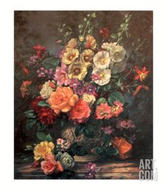 Still Life with Hollyhocks Art Print by Albert Williams at Art.com