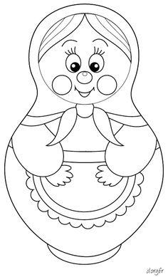 Dessin à colorier, une poupée russe