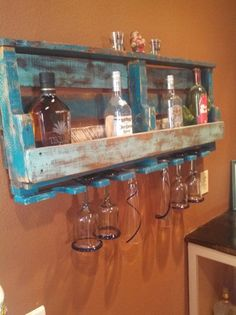 diy old pallet wine rack with glass holder
