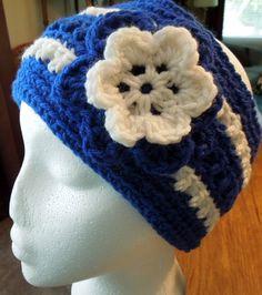 Womens Fashion College Teens School Color Blue White Warm Flowered Headband Ear warmer Headwrap handmade