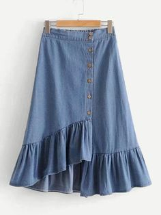 SheIn offers Asymmetric Ruffle Hem Denim Skirt & more to fit your fashionable needs. for teens Long Skirt Fashion, Denim Fashion, Modest Fashion, Look Fashion, Fashion Outfits, Fashion Skirts, Fashion Tips, Night Outfits, Outfits For Teens
