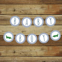 Printable alligator baby shower banner by saralukecreative on Etsy