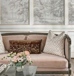 Custom murals, gold leaf accents and blush reveals! All in the paneling details✨ . . . #mural #handpainted #SegretoPaint #goldleaf #goldaccent #blush #tonalmural #tonal #formal #formallivingroom #livingroom Formal Living Rooms, Elegant Homes, Architectural Digest, Design Firms, Traditional House, Coffee Shop, Beautiful Homes, Love Seat, Family Room