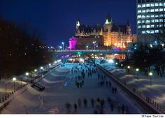 Night time skating on the Rideau Canal - Ottawa