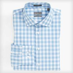 Trim Fit Non-Iron Gingham Dress Shirt by Calibrate
