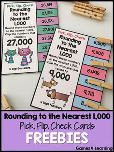 FREEBIE: Rounding Freebie Pick, Flip, Check Cards: Rounding to the Nearest 10, 100 and 1,000: 6 Rounding cards by Games 4 Learning for reviewing rounding to the nearest 10, 100 and 1,000.