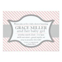Pink and Gray Baby Shower Invitation