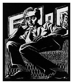M.C. Escher, Self-Portrait in a Chair, 1920, woodcut