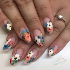 43 Best Spring Nail Art Designs to Copy in 2019 - Nails - # . - 43 best spring nail art designs to copy in 2019 Informations Abou - Flower Nail Designs, Diy Nail Designs, Nail Designs Spring, Diy Nails, Cute Nails, Pretty Nails, Floral Nail Art, Striped Nails, Spring Nail Art