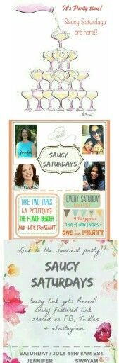SAUCY SATURDAYS starts TOMORROW - 8am EST.  So if you are a FOOD BLOGGER/ DIYer, please hop onto any of our pages and link up!   And if you simply LOVE seeing and drooling over some amazing food and creative DIY ideas, do visit my blog and leave a comment ...  Everyone's invited coz We Love to Party!! <3<3<3  @taketwotapas @theflavorbender @bklynxtine  can't wait to have you over and get this party started!   XoXo, S  #diy #food #party #link #linkparty #invitation #invite