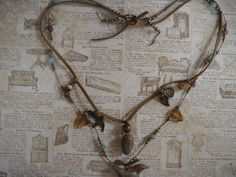Hand made bird and acorn WOODLAND necklace available at my site vintage portal.