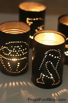 Upcycle cans into Star Wars lanterns - fun for a Star Wars themed party, or just as a scouting project, etc.