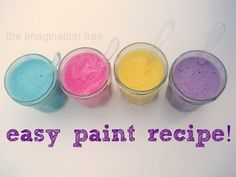 Here's how to make an easy homemade paint for kids using just 3 ingredients from the kitchen cupboards! Great for sensory exploration and creative projects