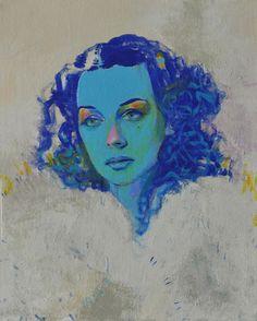 "Joshua Petker, Untitled (Blue I), 2012, acrylic and ink on canvas, 16x20"""