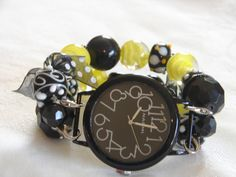 Yellow Black and White Chunky Beaded Watch Band and by BeadsnTime, $30.00