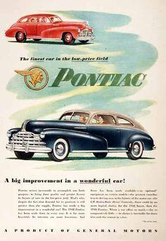 1948 Pontiac Silver Streak Coupe & Sedan original vintage advertisement. The finest car in the low price field. A big improvement in a wonderful car!