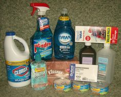 Look at all the items that were purchased using the gift card from Mrs. Christi!    Dawn, Storage bags, Kleenex, Windex, Bleach, Rubbing Alcohol, Peroxide, Hand Sanitizer, Index Cards, and 3 cans of cat food.    Thank you!!   38/900