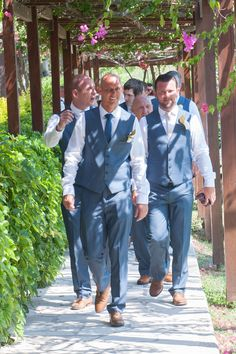 The groom and his best men on their way to the ceremony