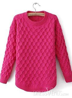 US$22.54 Best Pure Color Round Neckline Hemp Sweater. #Knitwear #Hemp #Color #Neckline