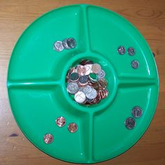 Coin sorting. Quarters, dimes, nickels, pennies. ~Sorting, Early math~Always supervise toddler with coins.
