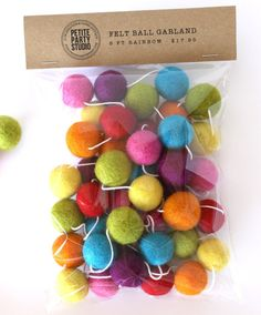 Felt Ball Garland - Rainbow - by Petite Party Studio