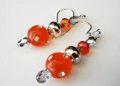 Coral Silver Beaded Earrings Orange Bead Earrings by mscenna