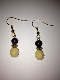 Ivory Czech Glass Bead with Black Round Glass by BikeronCrafts, £3.00