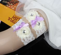 Shabby Chiffon Flower Wedding Lace Garter Sets for Bridal Handmade with bow