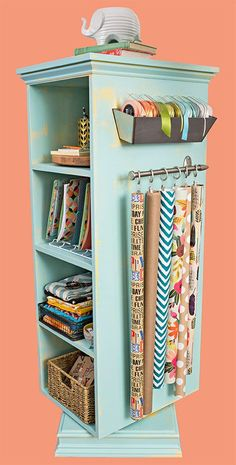 basket on 1 side, hanging things on other. 1 side with deep shelves, 1 side iwth narrow shelves. Lowe's Creative Ideas Digital Magazine sew einfach clothes crafts for beginners ideas projects room Craft Room Decor, Craft Room Design, Craft Room Storage, Craft Organization, Storage Ideas, Narrow Shelves, Deep Shelves, Space Crafts, Home Crafts