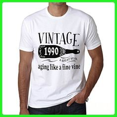 1990 Aging Like a Fine Wine Men's T-shirt White Birthday Gift - Birthday shirts (*Amazon Partner-Link)