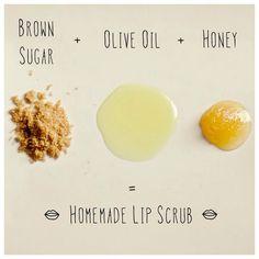 1 teaspoon Brown Sugar 1 teaspoon Olive Oil 1 teaspoon Honey  ...makes a fabulously luscious Homemade Lip Scrub. Pucker up, buttercup! <3