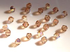 22 Champagne Colored Smaller Swarovski Crystal Beads #Etsy #Share #AyuJewelryShare #EtsyShop #MSMTeam