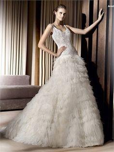 Exquisite V-neck Off-the-shoulder Dropped Waist Tulle A-line Wedding Dress WD0915 www.tidebridaldresses.com $349.0000