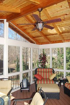 Open rafter, cedar ceiling, gable roof, screened in patio