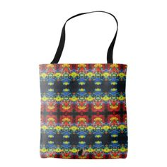 """Parralaxials KCFX Tote Bag. Similar to the currently trending """"Ikat"""" style, this design blends abstract art, technology and psychedelia in a completely unique fashion. The origination image is from my Kinetic Collage """"Sweet Dreams"""" series of light show photos. Load this tote with edibles for the festival! Over 3000 products at my Zazzle online store. Open 24/7 World wide! http://www.zazzle.com/greg_lloyd_arts*?rf=238198296477835081 + See KC @  http://www.youtube.com/user/kineticcollage"""