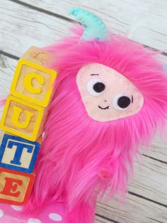 Yeti Doll  Pink Yeti Art Doll Soft Sculpture by MsBittyKnacks