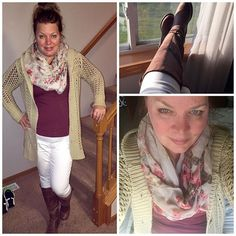 Oversized comfy sweater, long sleeve T, flower scarf. White skinny jeans, brown riding boots & a messy bun. Great fall outfit