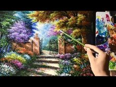 Acrylic Landscape Painting Lesson - House Beside the Waterfalls by JMLisondra - YouTube