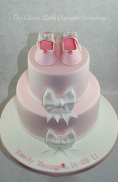 Bootee and Bows Christening Cake | by The Clever Little Cupcake Company
