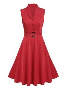 Kırmızı Vintage Stil Şal Yaka Kolsuz Yüksek Bel Sert A-Line Salıncak Günlük Elbiseler