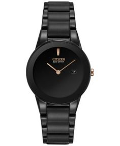 Citizen Women's Eco-Drive Axiom Black Ion-Plated Stainless Steel Bracelet Watch 30mm GA1055-57F