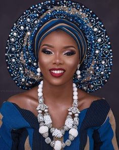 Gele styles are too numerous to mention because the art of tying the Gele material is limited only by the artistry and imagination of the person tying the G African Attire, African Fashion Dresses, African Wear, African Women, African Dress, Nigerian Bride, Nigerian Weddings, African Weddings, Nigerian Traditional Wedding