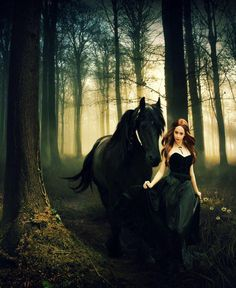 Woman in a black dress with dark black horse on a stroll in the forest.