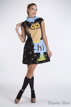"Embroidery fleece dress with handmade applique ""Owl""."
