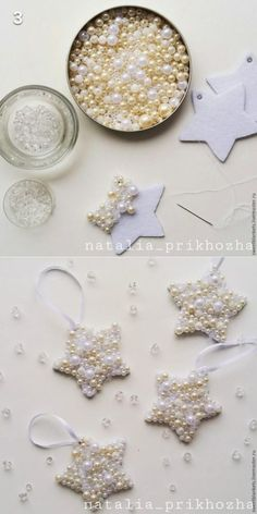 Easy DIY Pearl Star Christmas Ornament craft and gift idea. Easy DIY Pearl Star Christmas Ornament craft and gift idea. Holiday Crafts & Activities for Kids Christmas Ornament Crafts, Noel Christmas, Homemade Christmas, Christmas Projects, Simple Christmas, Holiday Crafts, Diy Ornaments, Star Ornament, Christmas Ideas