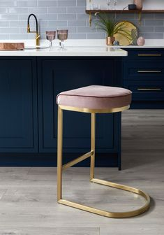 Kitchen Living Rooms Our Form Brushed Brass and Blush Pink Velvet Barstool looks great against dark blue kitchens - Modern backless teal velvet bar stool with a brushed brass cantilever base, part of the Exclusively Danetti with Julia Kendell range. Pink Bar Stools, Brass Bar Stools, Kitchen Stools, Kitchen Tiles, Navy Kitchen, Velvet Furniture, Bar Furniture, Kitchen Furniture, Furniture Websites