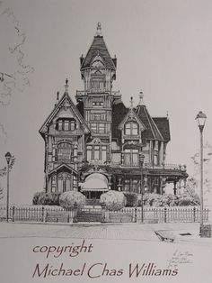 Architecture, Victorian House , Carson House - Fine ARt Print from a Pen and Ink original - limited edition